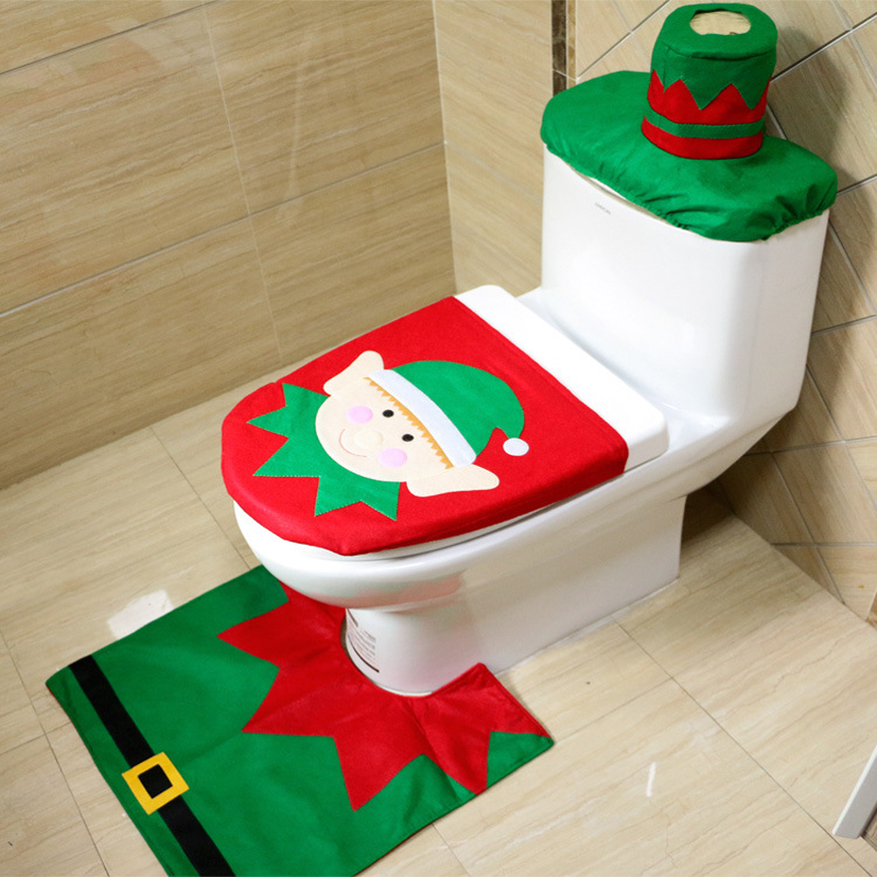 Hot 1set Cartoon Christmas Fairy Toilet Seat Cover And Mat And Tank Cover Bathroom  Set Christmas