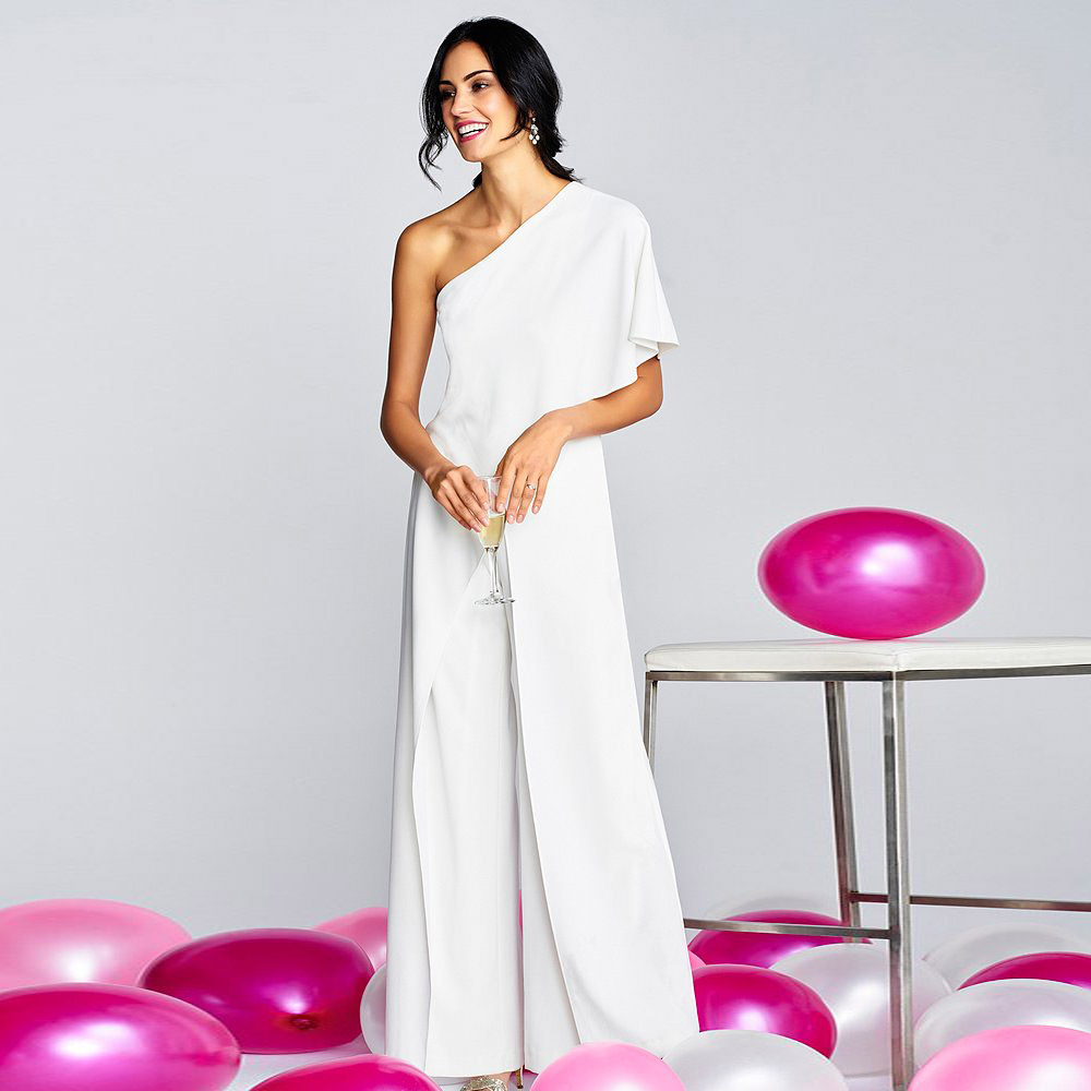 Elegant One Shoulder Ruffles   Jumpsuit   Casual Solid Female Body Wide Leg Long Pants   Jumpsuit   Women Office Lady Overalls Romper