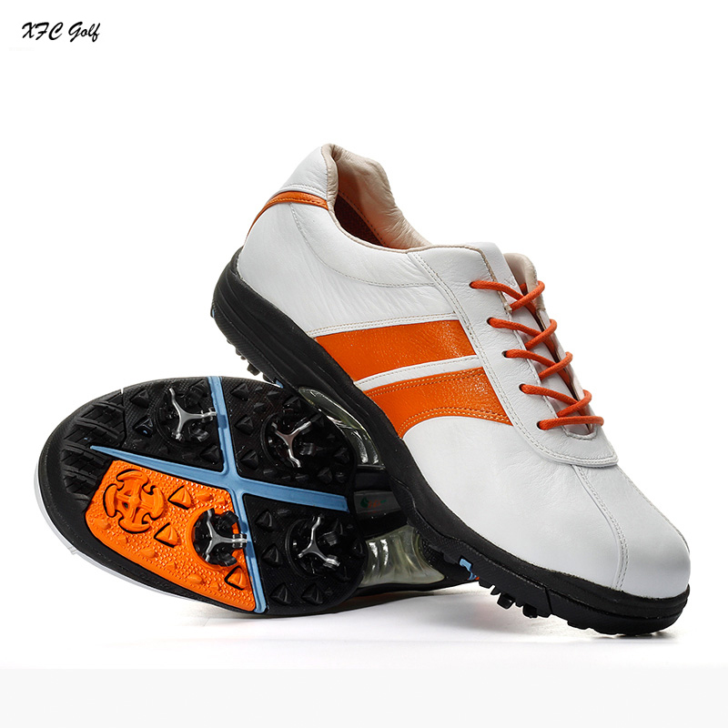 Genuine leather golf shoes Men slip-resistant outsole waterproof trainers sports shoes cowhide breathable tennis shoes autumn golf shoes women s breathable single shoes ultra light slip resistant waterproof shock absorption sports light golf shoes
