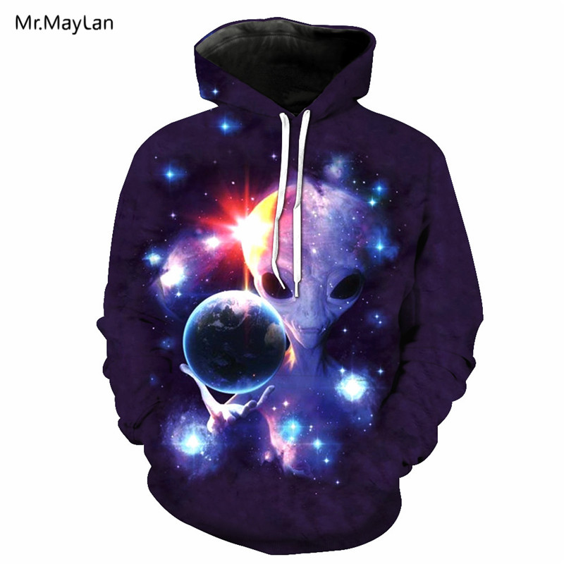Galaxy Space Alien Printing 3D Jackets Men Women Hipster Hiphop Hoodies Pullover Hood Sweatshirts Tracksuits Outwear Clothes 6XL in Hoodies amp Sweatshirts from Men 39 s Clothing