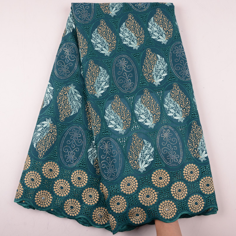 Teal Swiss Voile Cotton Lace Fabric 2019 Latest Swiss Voile Lace In Switzerland High Quality African