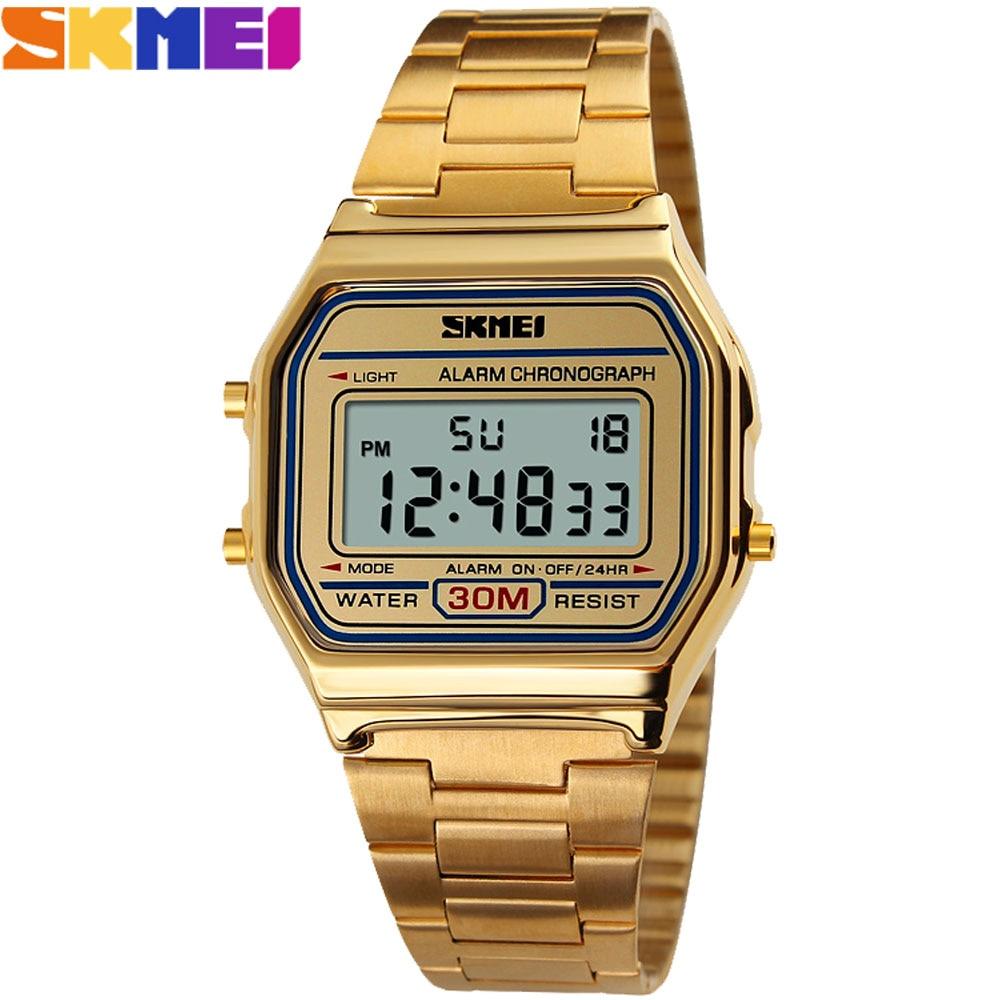 2016 New SKMEI Luxury Brand Men fashion Sports Watches Digital LED Quartz Wristwatches steel strap relogio