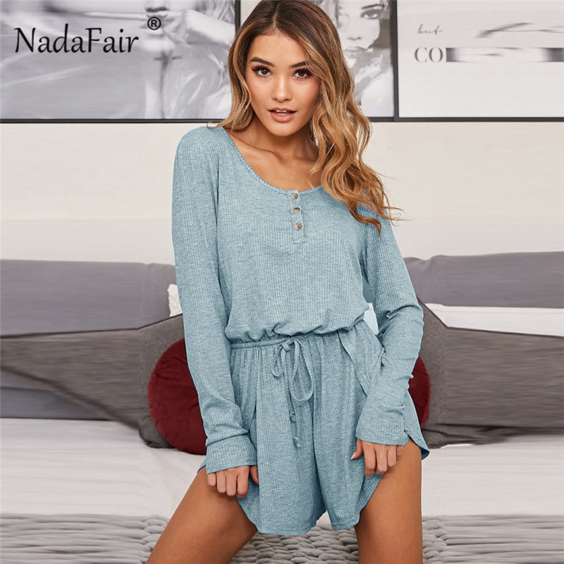 Nadafair elastic waist rib knit casual playsuits long sleeve o neck autumn rompers women's   jumpsuits   female solid loose overalls