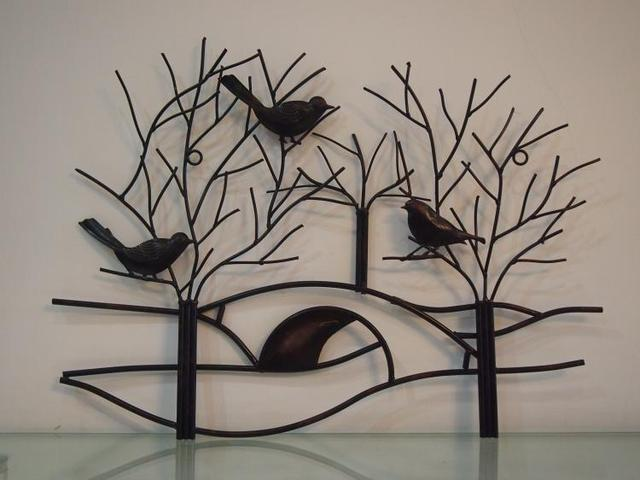 rustic metal tree branch with birds wall art hand forged antiqued