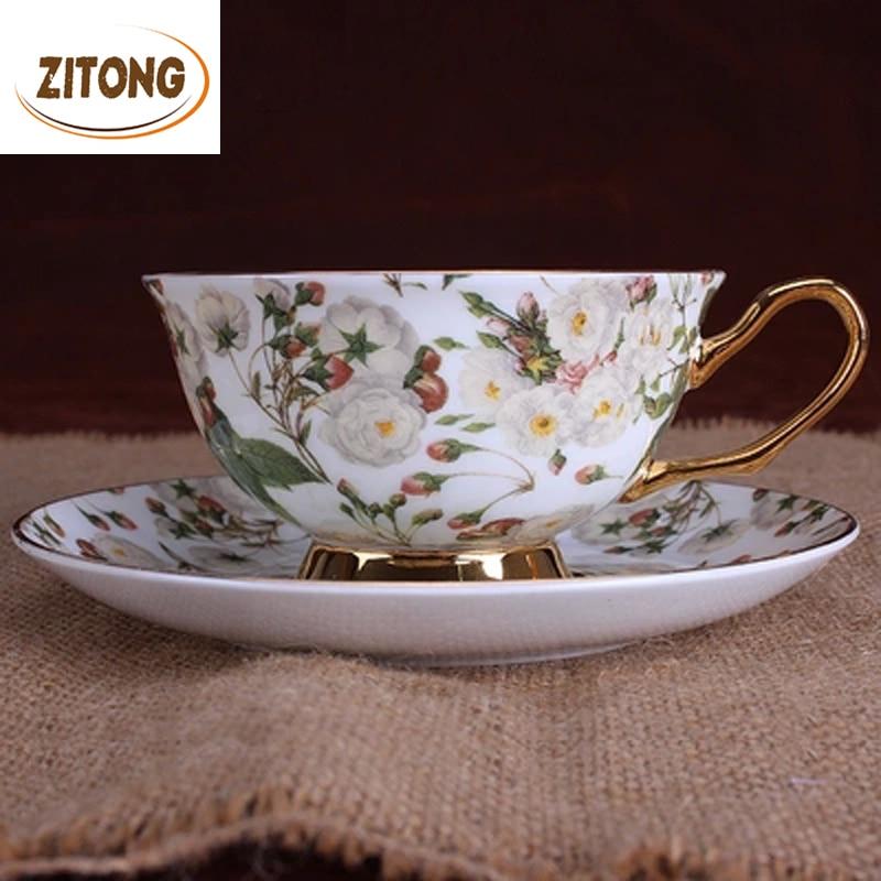European Style Bone China Coffee <font><b>Cups</b></font> <font><b>Saucers</b></font> Spoons Pastoralism Tea Set Designs Foam
