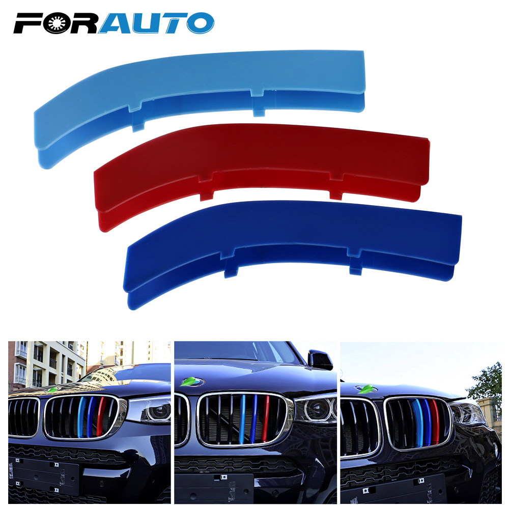 3d car sticker car front grille trim sport strips cover for bmw 3 5 series motorsport power performance stickers car styling