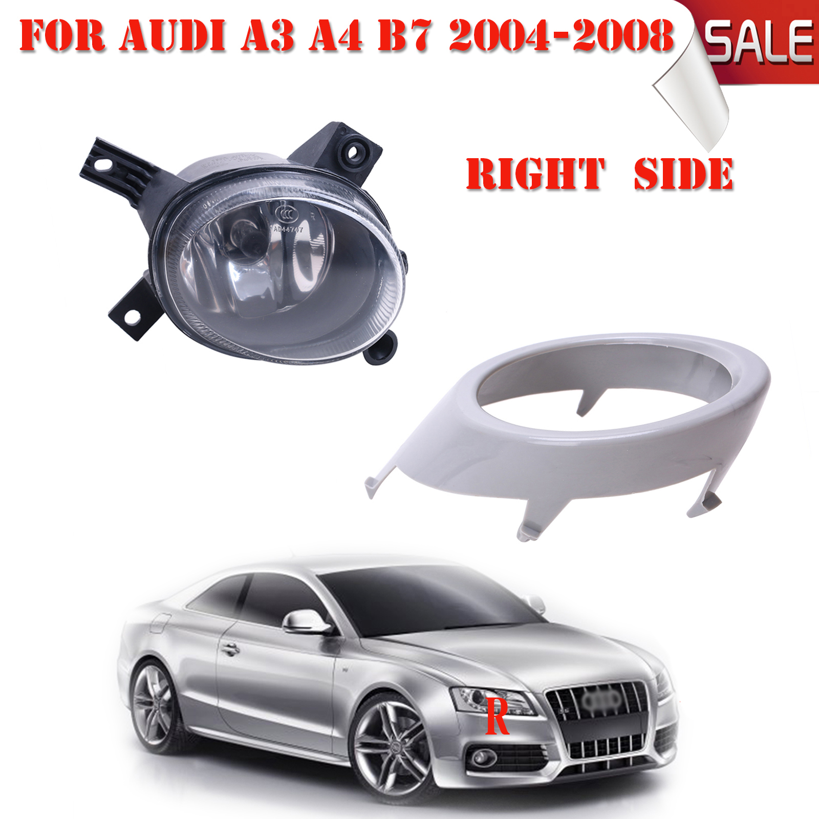 Right Side Front Bumper Grill Cover with Fog Light Lamp For Audi A3 A4 B7 2004-2008 with Bulbs H11 Car Accessories #P328 brand new car dashboard cover for audi tt dash cover mat right hand driver