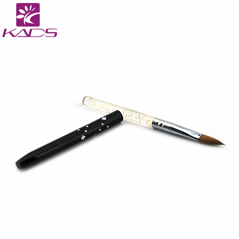 KADS 100PCS Size 8# 100% Kolinsky Sable Black Acrylic Nail Brush For Nail Art Design Nail Art Brush For Nail Painting Tool DIY osaka acrylic nail kolinsky brush 14