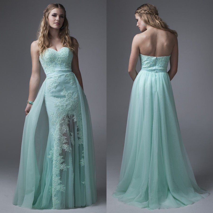 Mint Green Over Skirt Prom Dresses 2017 Strapless Long Beaded Lace ...