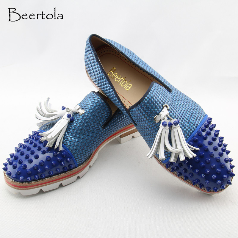 Detail Feedback Questions about Beertola Casual Shoes Man Tassel Patchwork  Studded Rivets Patent Leather Zapatos Hombre Low Top Blue Round Toe Loafers  Flats ... e1968ea1d596