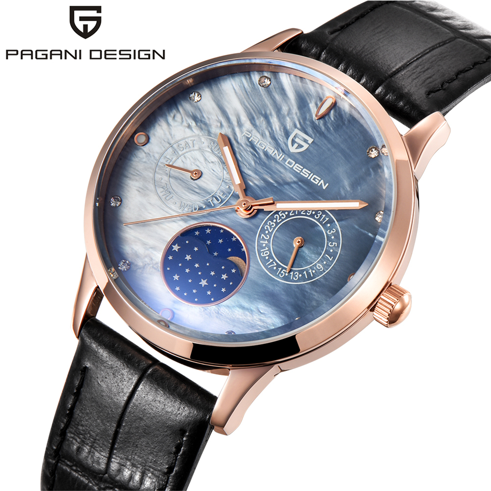 Pagani Design Ladies Fashion Quartz Watch Women Leather Casual Dress Women's Watch Rose Gold Crystal reloje mujer montre femme ladies fashion watch pagani design luxury brand temperament women quartz watch all steel casual romantic watch montre femme