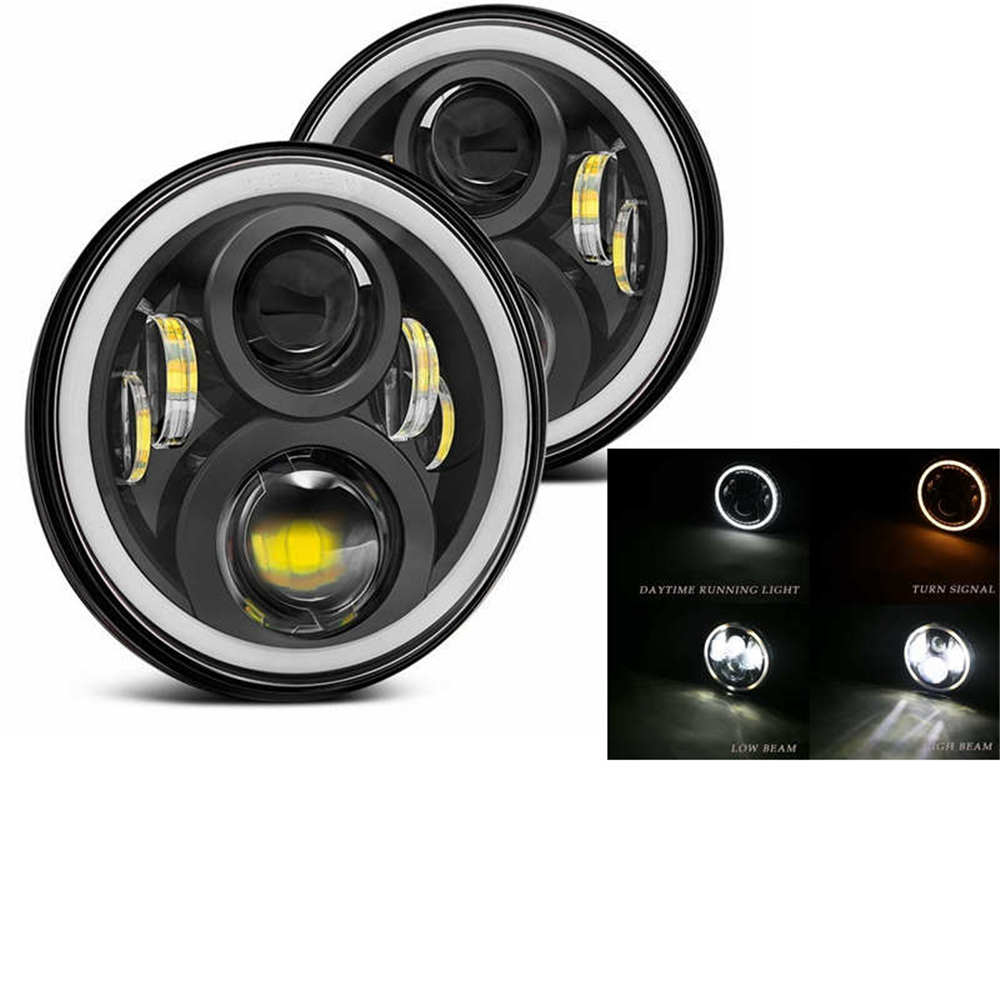 2xFor Lada Niva 7inch Led Headlight Hi/Low Beam Light Halo Angle Eyes DRL Headlamp For Jeep Wrangler Off Road 4x4 suzuki samurai-in Car Light Assembly from Automobiles & Motorcycles    3
