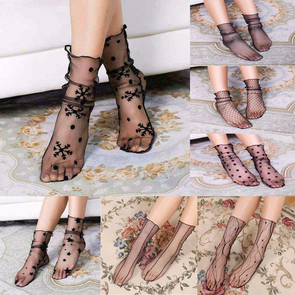 1 Pair NEW Arrivals Women Lace Ruffle Black Ankle Socks Elastic Ultrathin Sheer Short Mesh Socks