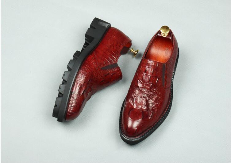 Smart Véritable Chaussures Casual Plate En Glissent Sur forme Richelieus as Style La Cuir Pic Hauteur Hommes Croissante Summer Black Robe 1JclFK3T