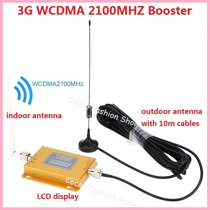 2 pièces Mini antenne 3G + câble fonction d'affichage LCD 3G répéteur de signal de 3G kits, WCDMA répétiteur, 2100 Mhz