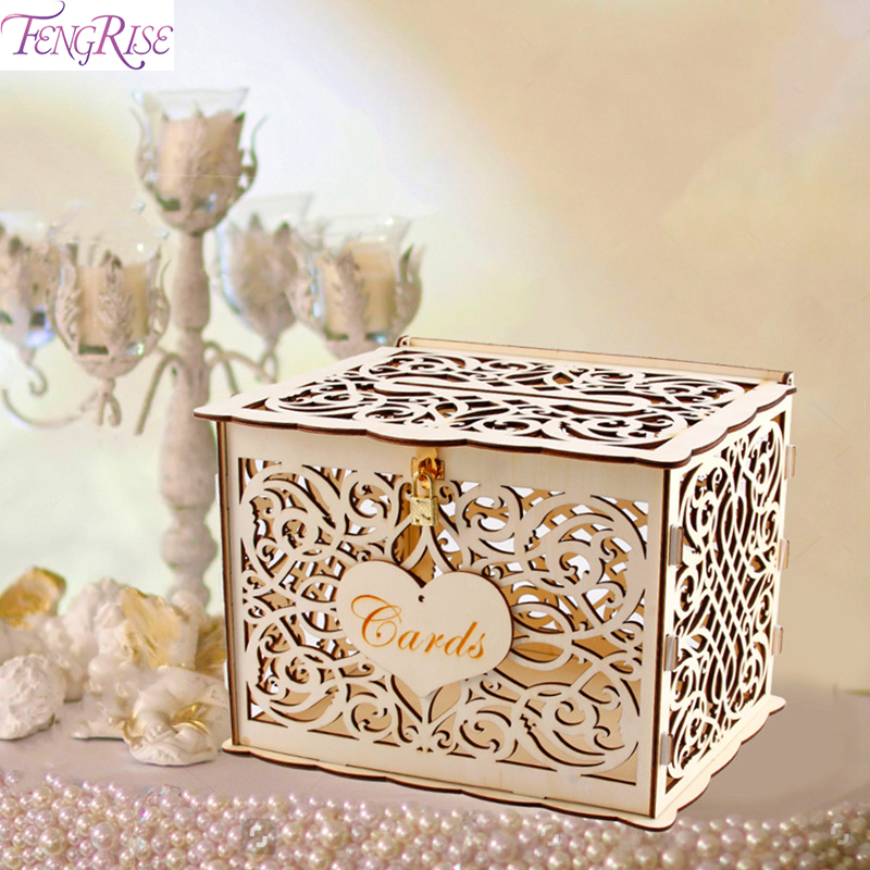 FENGRISE Wedding Gift Card Box Decoration DIY Wooden Money Box With Lock Beautiful Box Wedding Accessories For Birthday Party FENGRISE Wedding Gift Card Box Decoration DIY Wooden Money Box With Lock Beautiful Box Wedding Accessories For Birthday Party