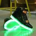 Высокое качество Новые Специальные горячие Продажи испуская светящиеся повседневная обувь мужчины Высокие верхние пару СВЕТОДИОДНЫЕ фонари USB зарядки обувь