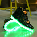 High quality New Specials hot Selling emitting luminous casual shoes men High top couple LED lights USB charging shoes