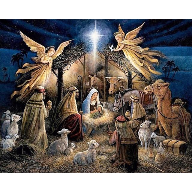 christmas day jesus is born picture 3d diy diamond painting cross stitch diamond embroidery mosaic full