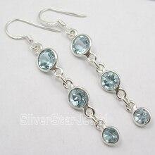 Chanti International. Насыщенный Серебряный Rare Cut Blue Topas 3 Gem модные Серьги 5.5 см 3.1 г новая