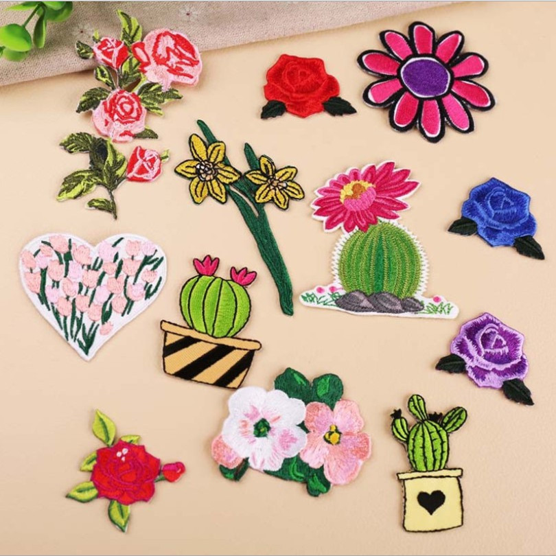 DOUBLEHEE Plant Flowers Cactus Patch Embroidered Patches For Clothing Iron On For Close Shoes Bags Badges Embroidery in Patches from Home Garden