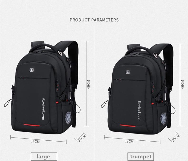 Svvisssvver mâle multifonction USB charge mode affaires décontracté voyage anti-vol étanche 15.6 pouces ordinateur portable hommes sac à dos - 3