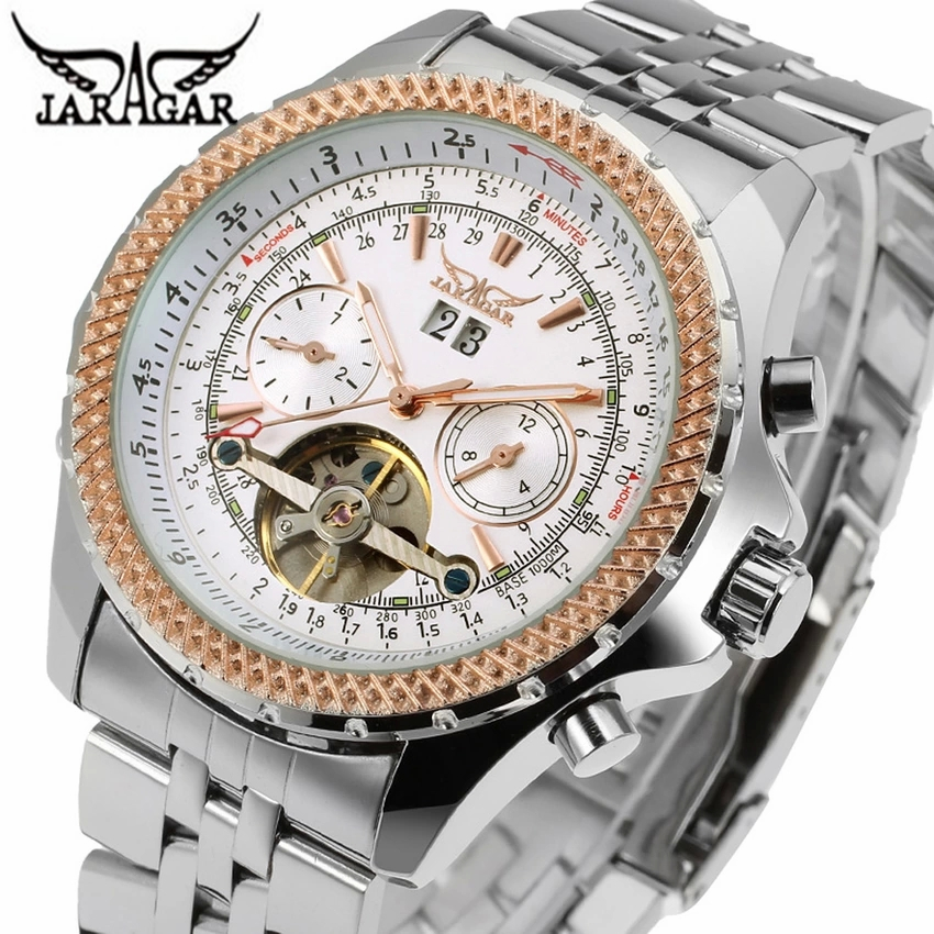 Jaragar トゥールビヨンシリーズメンズ自動機械式時計トップブランドの高級ステンレス鋼のメンズスポーツ腕時計レロジオ Masculino  グループ上の 腕時計 からの 機械式時計 の中 1