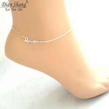 DIANSHANGKAITUOZHE Stainless Steel Chain Letter Charm Tornozeleira 2017 Boho Jewelry Love Statement Gold Silver Color Anklets
