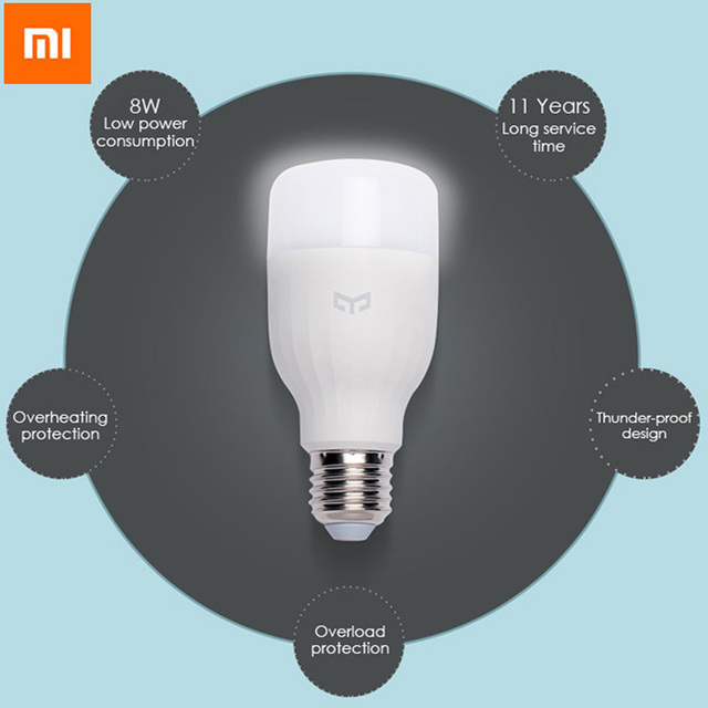 White Smartphone App WIFI Control LED Smart Light Bulb For Original Xiaomi Mi Yeelight E27 8W 4000k 220V Illumination Smart Home