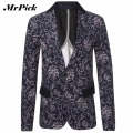 Men Floral Flower Suit Jacket 2016 Autumn New Arrival  Single Breasted Classic Casual Suit Coat For Men C0001