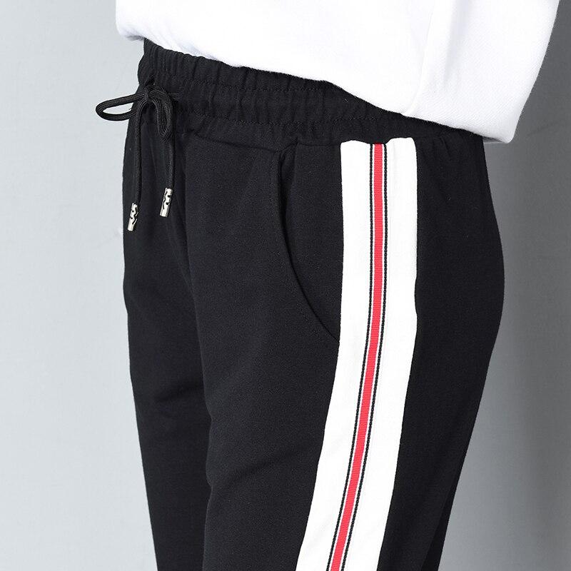 Neue Elastische Taille Kordelzug Pluderhosen Frauen Frühling Sommer Knöchellangen Seitlichem Striped Kontrast Farbe Weiblichen Jogginghose Hose