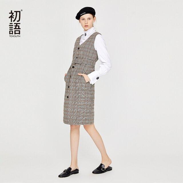 Toyouth משובץ קלאסי שרוולים גבוה מותן שמלות V צוואר נשי H סוג Slim סוודר Bodycon אלגנטי תחרה שמלה