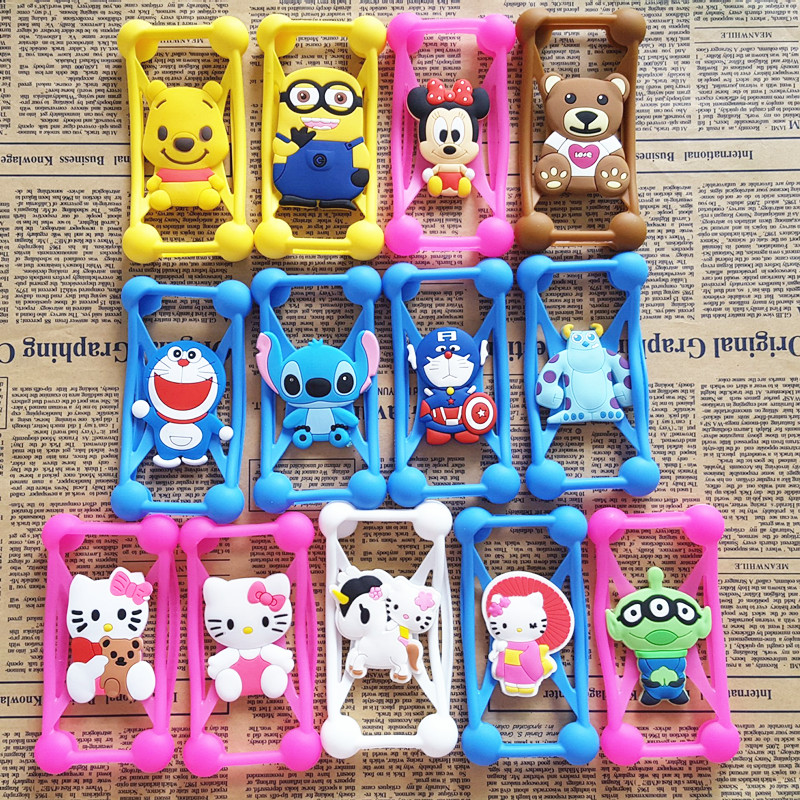 kayi liu's store Anti Knock Silicone 3D Cartoon Stitch kitty Universal Phone Frame Bumper Case For iPhone 4 5 S 6 7 Plus All Phone 3-6 inch Scree