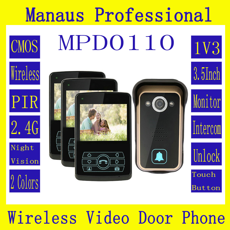 D110b Profession Smart Home 1V3 Interfones Inalabricos,High Quality 2.4G Digital PIR Detection Video Door Peephole Camera