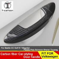 Car styling Carbon Fiber Auto Door Handle Knob Exterior Trim Covers For Volkswagen POLO UP Beetle Tiguan Sagitar TT TTS Sticker