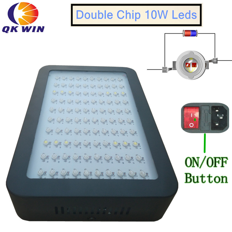 Qkwin 1000W LED hydroponics Grow Light 100X10w Full Spectrum with 410-730nm For Indoor plants grow and Flowering