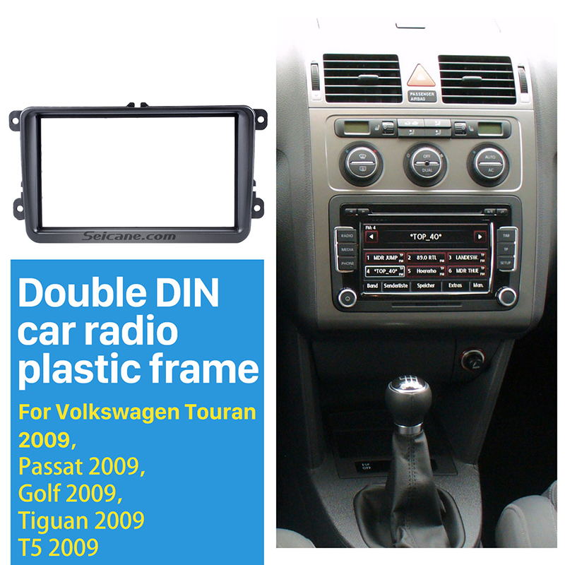 seicane black 2din car radio fascia for 2009 volkswagen. Black Bedroom Furniture Sets. Home Design Ideas