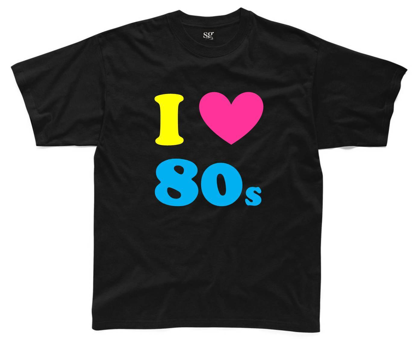 I LOVE THE 80s Mens T-Shirt S-3XL Black Outfit Fancy Dress Costume Neon New T Shirts Funny Tops Tee