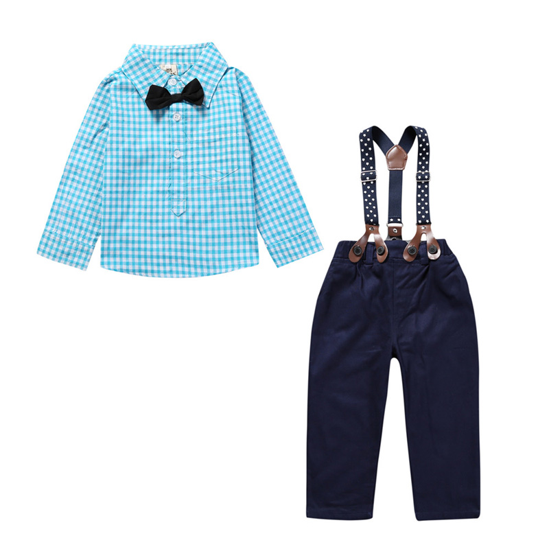 Fashion Summer Gentleman Style Kids Baby Boys Clothing Sets Cotton Plaid Long Sleeve Shirt Sling Strap Pants Baby Clothes Suits