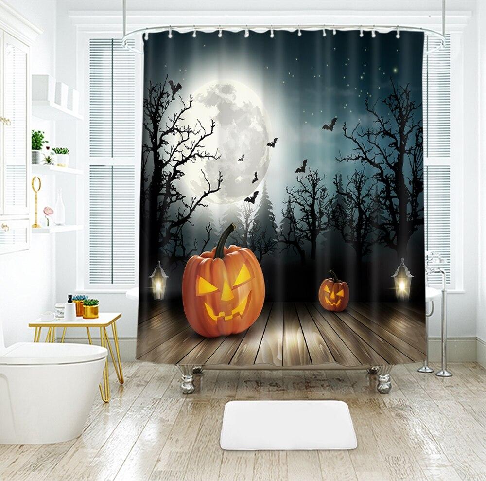 Halloween Pumpkin Light Waterproof Shower Curtain 3d Photo