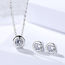 hot deal buy genuine 925 sterling silver jewelry sets simple round zircon stone pendant necklace earrings for women fine wedding jewelry