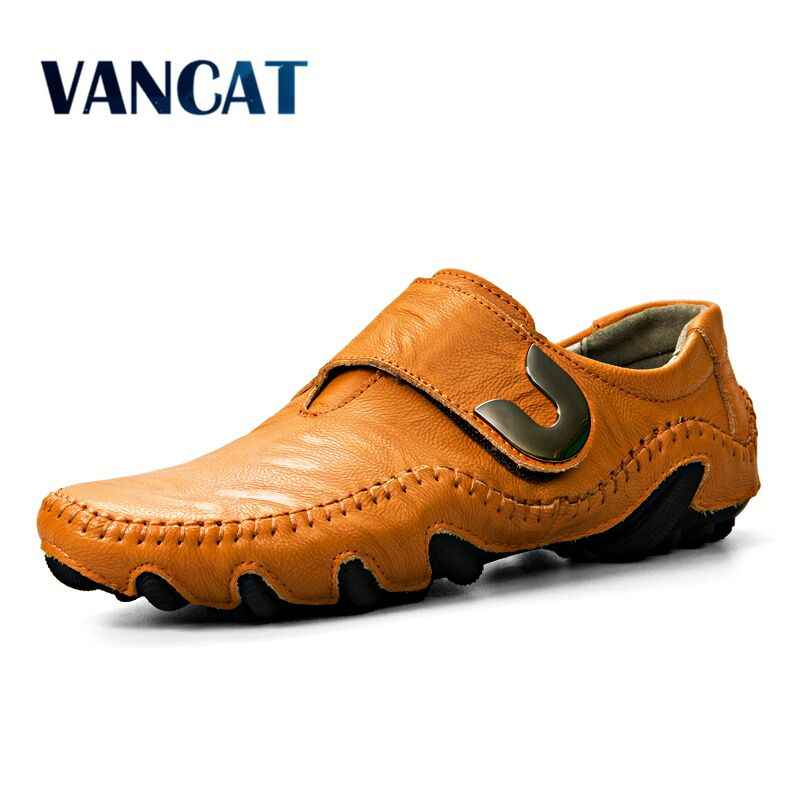VANCAT New 2018 Flat Shoes Men's Shoes Men Driving Handmade Genuine Leather Men Casual Shoes Fashion Designer Men Leather Shoes
