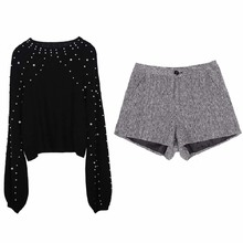 NiceMix turtleneck sweaters pearl beading and shorts set warm lantern sleeve jumper femal loose pollover shorts and sweater sets plus pearl beading bell sleeve jumper