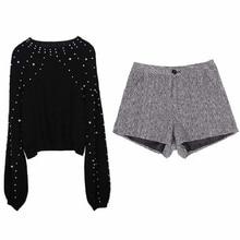 NiceMix turtleneck sweaters pearl beading and shorts set warm lantern sleeve jumper femal loose pollover sweater sets