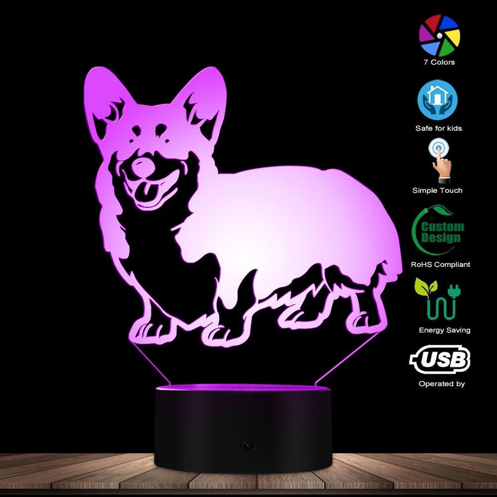 Cardigan Welsh Corgi Dog Designed Lamp 3D Optical Illusion Night Light Animal Pet Hound Puppy Breed LED Night Light Table Lamp