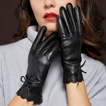 Leather Gloves Female Sheepskin Gloves Woman's Genuine Leather Gloves Winter Plus Velvet Thicken Keep Warm Women Mittens MLZ011 leather gloves female autumn winter keep warm plus velvet thicken touch screen sheepskin genuine leather woman gloves l18011nc 9