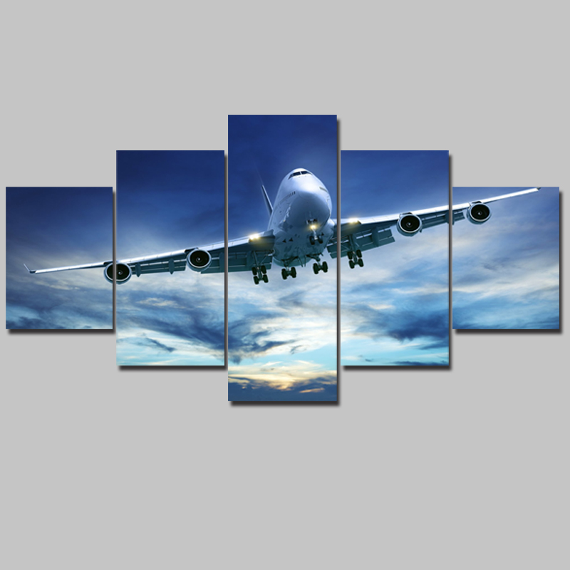 Modular Decoration Posters Picture On Canvas Wall 5 Panel Airplane Art Home Framework Living Room HD Printed Modern Painting image
