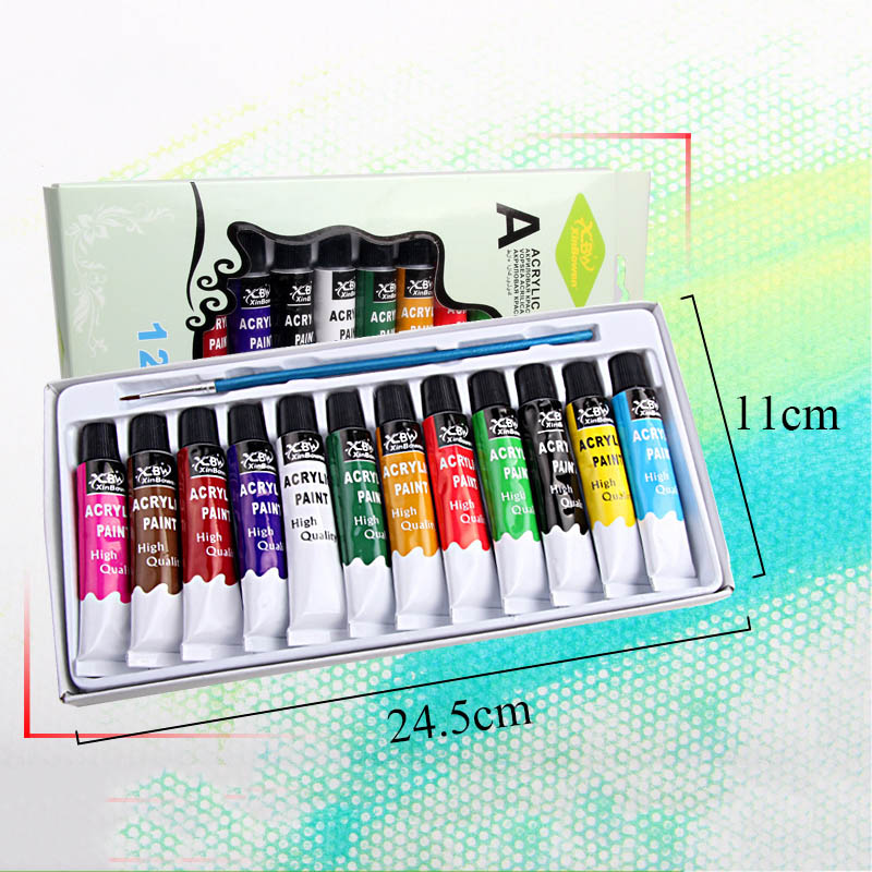 12ml 12 Oil Colors Profession Acrylic Paints Set Hand Painted DIY Nail Glass Wall Drawing Fabric Painting Tools For Kids DIY
