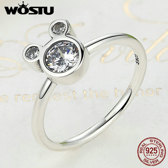 WOSTU New Fashion Real 925 Sterling Silver Cute Sparkling Mouse Cartoon Rings For Women Girl Luxury Original Fine Jewelry CQR032