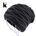 Winter beanie men hat water ripples stocking cap mens skullies knitted hats plus velvet thicker bonnet beanies for men gorro